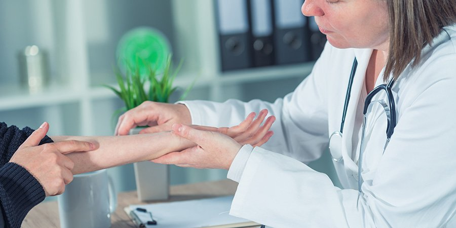 female patient at orthopedic doctor. buy cbd online USA.