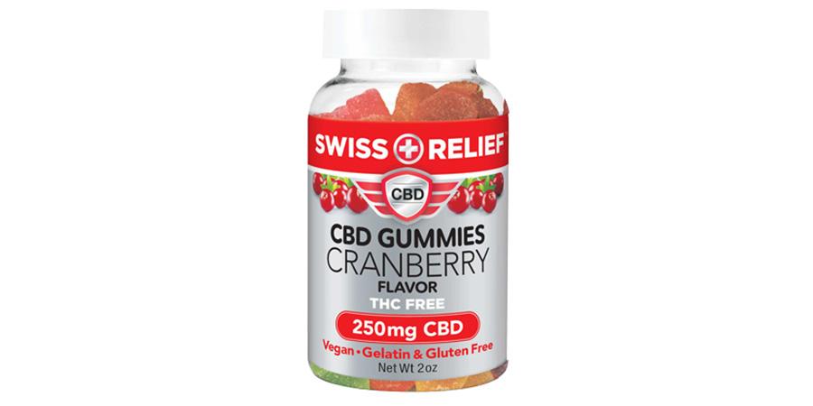 swiss relief cbd gummies thc free 250mg. cranberry edible gummy candy.