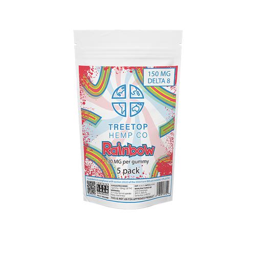 treetop hemp co delta 8 thc rainbow gummy 5 pack