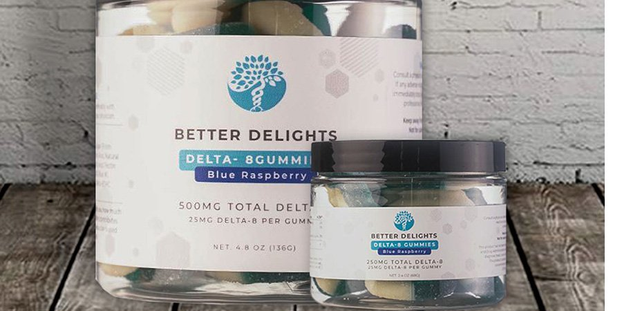 blue raspberry delta 8 gummies 25mg from better delights.