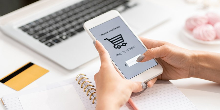 person online shopping on a mobile phone