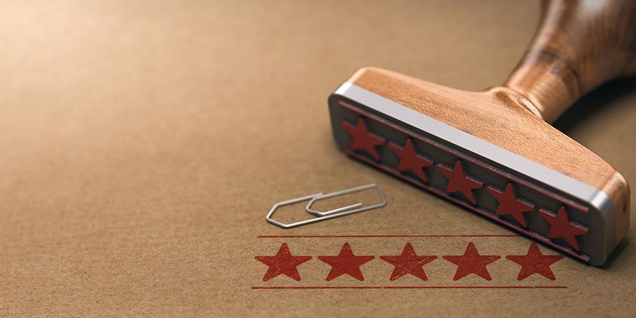 Five stars rating label over brown paper. harbor city hemp review.