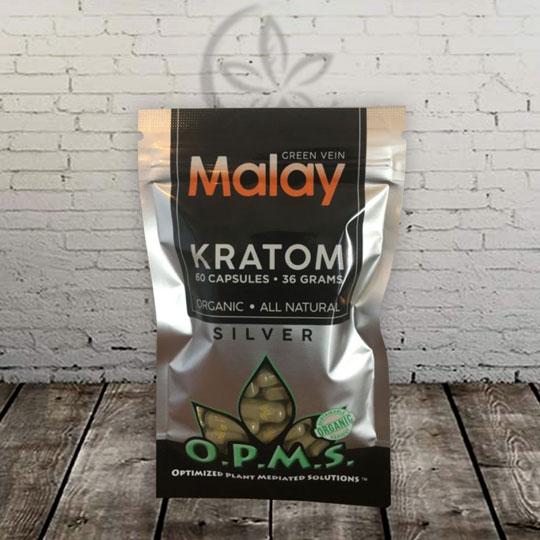 OPMS Silver -- Green Vein -- Malay Kratom Capsules